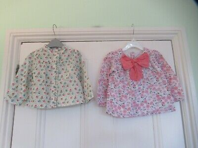 12-18m: 2 pretty floral tops/blouses: Baby Gap/Mothercare: Good condition