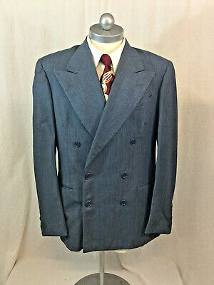 Men's Vintage 1940'S Grey W/Blue Pinstriped DOUBLE BREASTED Wool Suit Coat 41R