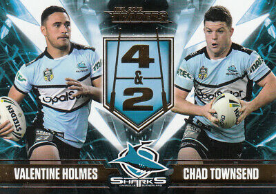 2019 Nrl Traders 4 & 2 Card - Ft2 Holmes & Townsend Cronulla Sharks - #135 / 220