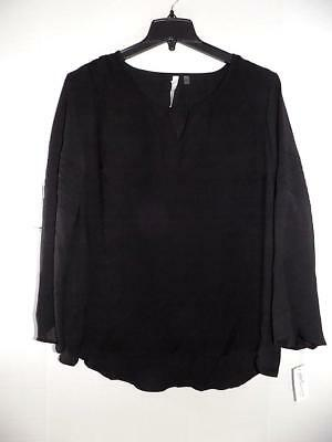 91366bbb897072 WTC494 NY Collection Women's Plus Black Bell Sleeve Keyhole Top NWT Size 1X