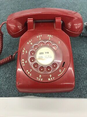 Vintage Rotary Dial Red Bell System Western Electric Desk Telephone 500DM AS IS