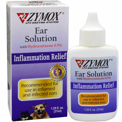 Zymox Ear Solution Hydro cortisone 0.5% Inflammation Relief 1.25 oz OPEN BOX NEW