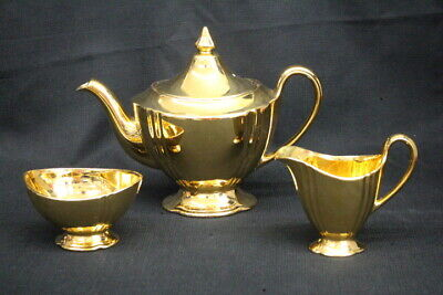 1950's Royal Winton Golden Age Stafforshire Gold Teapot, Creamer and Open Sugar