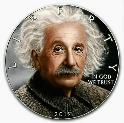 2019 American Eagle ALBERT EINSTEIN Colorized 1oz .999 Silver Coin - Box & COA