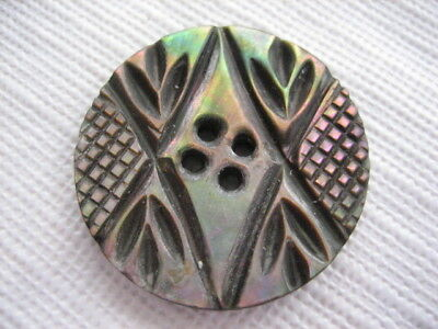 """Vintage Medium 1-1/16"""" Smokey Mother Of Pearl MOP Shell Carved Button PP111"""