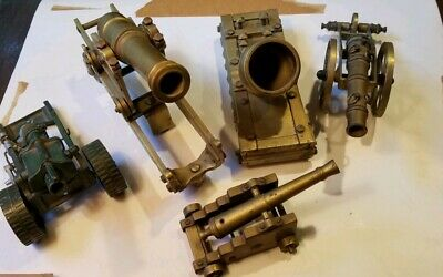 VINTAGE Lot of 5 Brass Cast Iron Toy Cannons Military made in England