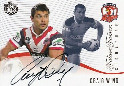 2018 Nrl Glory Future Famers Signature Card - Ffs12 Craig Wing Roosters #149