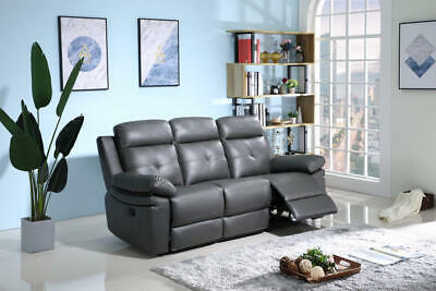 York Leather 3 Seater Recliner Sofa