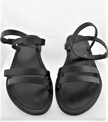 52431d41625 NEW URBAN OUTFITTERS UO Leather The Boardwalk Ankle-Strap Sandals Black  Size 6