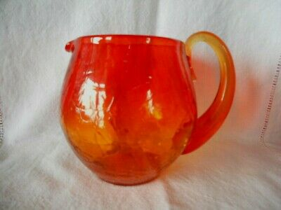 "Vintage Blenko 3750L Tangerine / Amberina Crackle Glass Pitcher 5 1/2"" Tall"