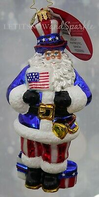 Christopher Radko NEW 2019 Jolly Patriotic Santa! Christmas Ornament #1020050