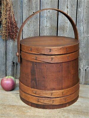 Antique Primitive Wood Firkin Sugar Bucket 4 Finger Banded