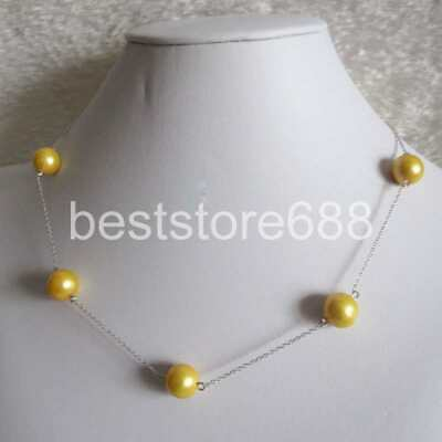 """18"""" 10-11mm glod Freshwater Pearl Necklace Silve Chain Jewelry"""