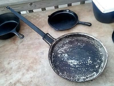 Antique Arts Crafts Colonial Copper & Iron Hammered & Tinned Frying Pan Skillet