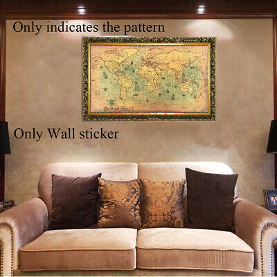 Poster Pictures Retro Old Kraft Vintage World Map Nautical Ocean Wall Sticker