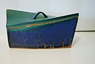 Vintage Art Studio Pottery Signed Dated 1998'S Green Blue Modernist Box With Lid