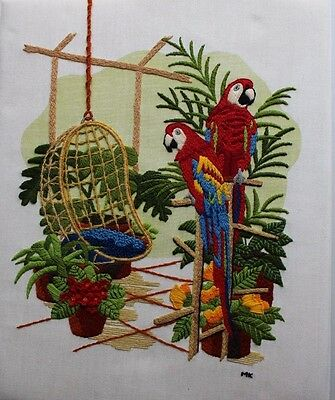 Tropical Atrium Macaw Parrots Chair 1981 Sunset 2412 Crewel Embroidery Completed