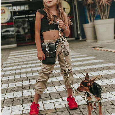 Toddler Kid Baby Girl Ruffle Sling Tops Long Pants 2PCS Outfit Clothes Summer