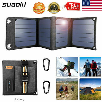 24W 5V Portable Solar Panel Charger Folding Charging Power Bank USB Battery Pack