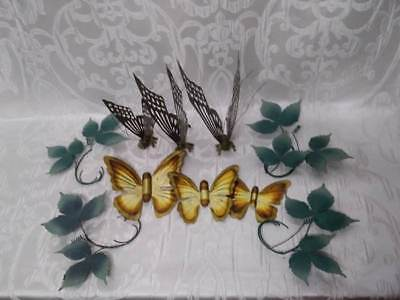 Vintage Home Interior Metal Brass Wall Art Butterflies Floral Leaves Wall Decor