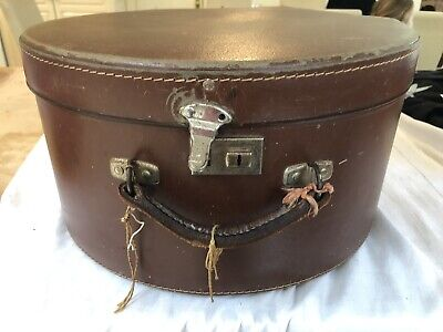 Vintage Hat Box - Brown Leather With Brass Clasps And Paper Inside In Vg Cond.