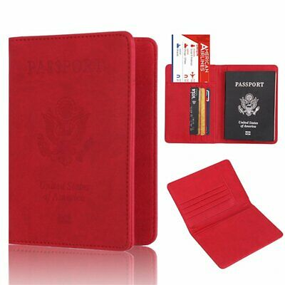 PU Leather RFID Blocking Passport Travel Wallet Holder ID Cards Cover Case EU