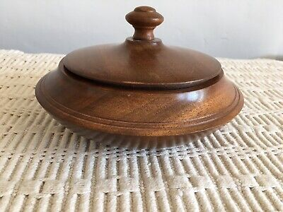 Antique Vintage Round Wooden box - Trinket Box - Treen - Fathers Day Gift