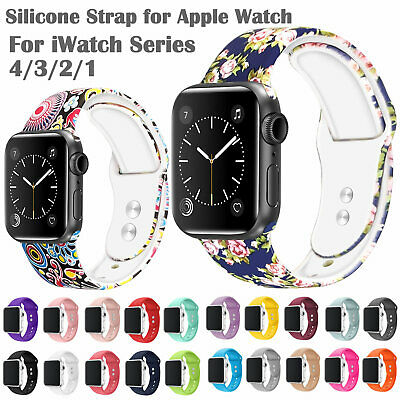 Printed Silicone Strap for Apple Watch Series 4/3/2/1 Smart Watch Bracelet Bands