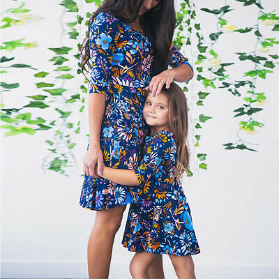 Mother and Daughter Dress Mother and Me 2019 Blue Floral Printed Mini Dress