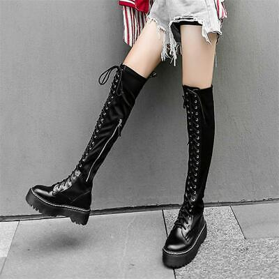 Womens Lace Up Thigh High Boots Over the Knee Platform Long Sneakers Punk Shoes