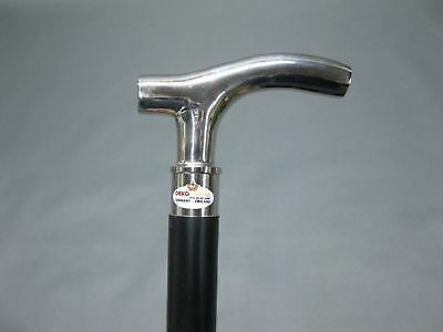 Vintage walking stick Silver Brass Head Handle Cane Wood Style Black Handmade