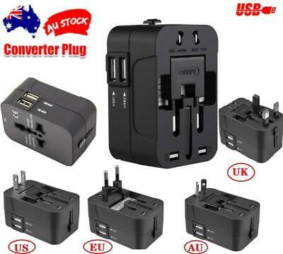 Travel Adapter Universal 2 USB International Charger Plug Converter AUS,US,EU,UK