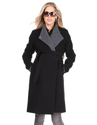 Seraphine - Wool & Cashmere Black Maternity Coat - UK Size 12