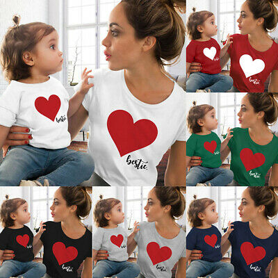 Matching Mommy and Me T Shirt Family Harmony Love Print T Shirt Summer Clothes