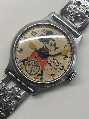 Vintage 1930s Ingersoll Mickey Mouse Wrist Watch Wind Up Mechanical Disney