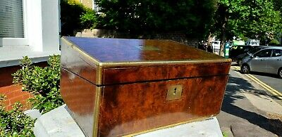 Burr walnut and brass writing slope. Lovely grain & patina. 2glass inkwells