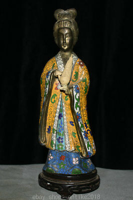 """12""""Old China Cloisonne Enamel Bronze Dynasty Palace Stand Beauty Woman Sculpture"""
