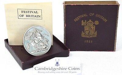 1951 Festival of Britain Crown PURPLE BOX + COA Uncirculated Coin UNC 5 Shilling