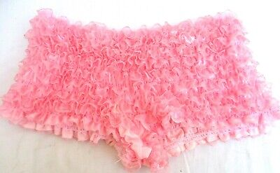 VTG..MALCO MODE..PINK..LACE..NYLON..RUFFLED..PANTIES..SEXY..USA..sz L/XL