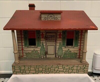 Old Antique Vintage Arts & Crafts Converse Bungalow Wooden Doll House 1915