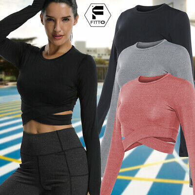UK Women Yoga Gym Crop Top Compression Workout Athletic Long Sleeve T-Shirt G09
