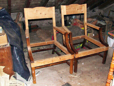 A Pair Of Walnut Period Style Arm Chairs