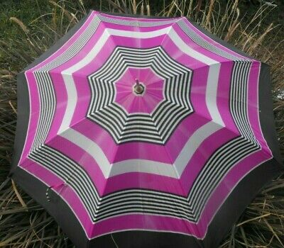 Vintage Umbrella Pink Black White Striped Wood Handle SHELTA Pin-Up Rockabilly