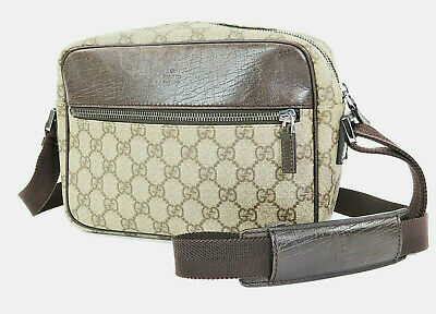 f8e819a801 Authentic GUCCI Brown GG PVC Canvas and Leather Shoulder Bag Purse #32995