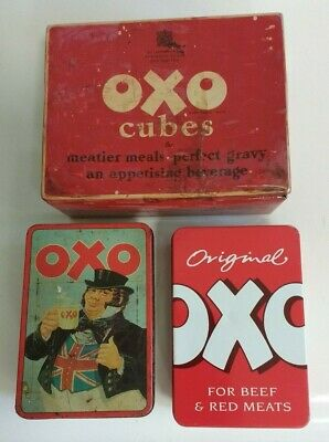 Vintage Oxo Cube Tins Three Iconic Blood Red Advertising