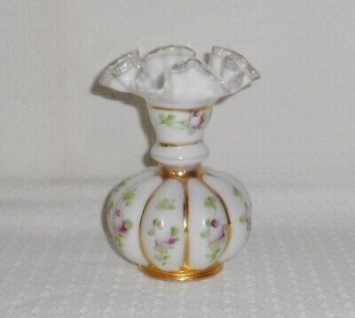 Fenton Silver Crest Melon Vase Hand Painted Pink Roses Gold Accents