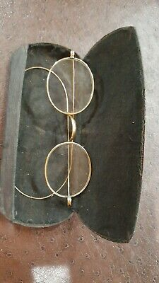 Vintage Pair Of Old Wire Rim Glasses With Case 1/10 12K Gold Fill