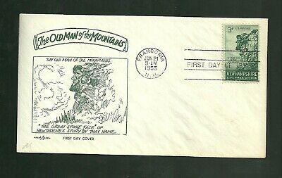 1955 First Day Cover The Old Man Of The Mountains Scott #1068 Pent Arts