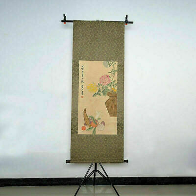 """Long Scroll Traditional Chinese Chrysanthemums Painting """"黄山寿"""" Marks"""