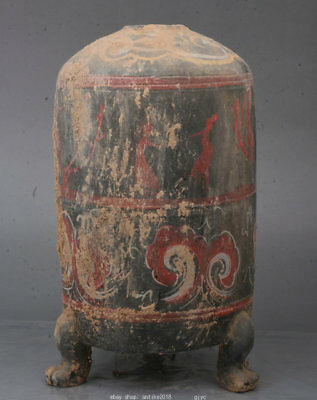 """10.8"""" Old Chinese Han Painting Pottery Dynasty Belle Woman 3 Foot Bottle Vase"""